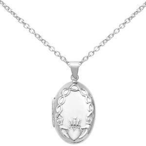 New Celtic Irish Claddagh Sterling Silver Oval Locket & Chain Jewellery