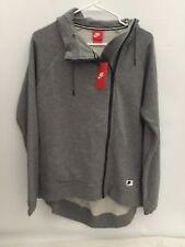 Nike Women's Modern Cape Asymmetrical Zip Grey Hooded Jacket Size M (DEFECT)
