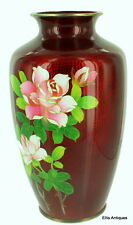 SEMI ANTIQUE JAPANESE GIN-BARI SHIPPO RED PIGEON BLOOD ROSES SILVER VASE