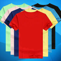Women Men Casual T-Shirt Short Sleeve Solid Crew Neck Summer Fashion Tops S-3XL