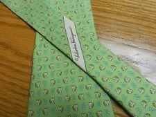 Salvatore Ferragamo Tie Men's Tie 3 1/2 X 60  Lime green Baby tigers  NWOT