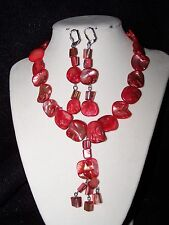 Formal/Prom - Red shell  fashion necklace & Earring Set