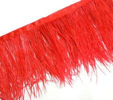 F105 PER 30cm- Red Ostrich feather fringe Trim Brooch/Fascinator Material
