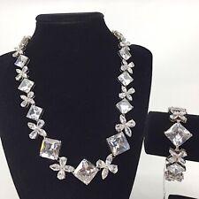 STUNNING CZ Cubic Zirconia Crystal Necklace Bracelet Set Rhodium Plated BRIDAL