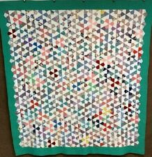 New listing Amazing! c 1930s Kaleidoscope Quilt Vintage Feedsack Nice Quilting