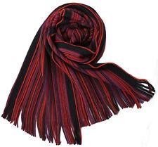 Klassischer Strickschal aus 100% Merinowolle mit Fransen -- rot gestreift