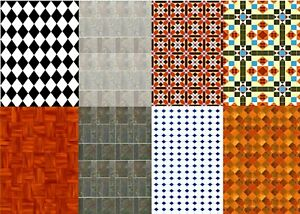 Dolls House Wallpaper 1/12 Scale Self Adhesive Floor & Wall Tiles Gloss