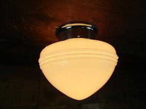 Vintage RETRO MCM Milk Glass Ceiling Flush Mount Light Fixture ART DECO  E7