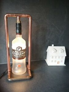 Russian vodka Steampunk Copper, Bottle table Lamp, Vintage Retro LED light