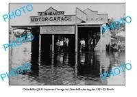 OLD 6 x 4 PHOTO CHINCHILLA QUEENSLAND SIEMONS MOTOR GARAGE IN FLOOD c1922