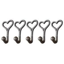 Set of 5 heart shape Cast Iron Wall Coat Hooks Hat Hook Hall Tree Brown