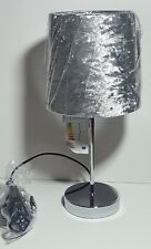 NEW SILVER GREY CRUSHED VELVET TABLE LAMP WITH LIGHT SHADE CHROME BASE BEDROOM