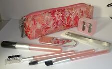 Beauty Fix Kit Pink Color Eye Cheek Brow Brush Set Brushes tweezer zipped case