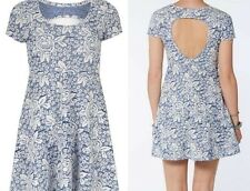 Lola Skye @ Dorothy Perkins blue jacquard rose skater cut out tea dress size 8