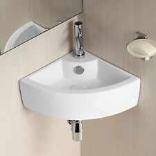 CORNER BASIN SINK ROUND SMALL WALL HUNG COMPACT CLOAKROOM BATHROOM 435mm
