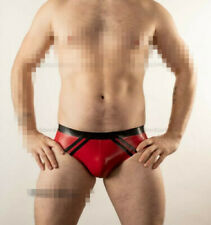 100%Latex Rubber Black&Red Triangle Shorts/Pants Underpants Tight 0.4mm S-XXL