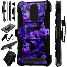 Luxguard For MicroMax T55 Phone Case Holster Stand Cover   PURPLE ARTISTIC CAMO