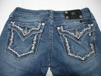 MISS ME Denim Women's Rhinestone Stretchable Low Rise Boot Cut Jeans  28