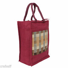 Saffron Craft Maroon  Jute Lunch Bag