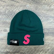 Supreme x New Era S Logo Pink on Dark Green FW19 Beanie