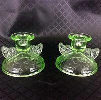 Art Deco Glass Candlesticks Butterfly Candle Holders Green Butterflies 1930s