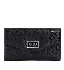 Women Guess Akita SLG Check Organizer Foldover Wallet Black A7514238