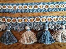 Lot VINTAGE French NOS Blue Cream UPHOLSTERY Braid Tassel Trim 25 + 4 YDS Approx