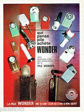 PUBLICITE ADVERTISING 016  1965  la pile Wonder lampes poche