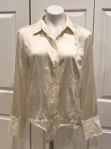 Vintage Moda International Silk Long Sleeve Button Bodysuit Ivory Sz L