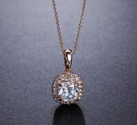 18K Gold Cubic Zirconia CZ Pave Square Long Chain Pendant Necklace Jewellery UK