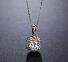 18K Rose Gold Cubic Zirconia Pave Square Long Chain Pendant Necklace Jewellery