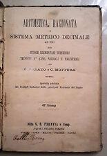 ARITMETICA RAGIONATA E SISTEMA METRICO DECIMALE PARAVIA 1900 PARATO MOTTURA