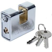 Chrome 63mm Close Armoured Shutter/Container Padlock
