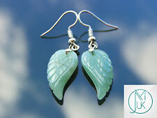 Aventurine Angel Wing Gemstone Earrings Natural Quartz Chakra Healing Stone