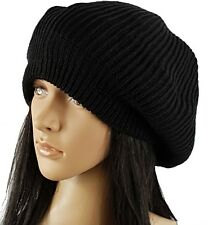 Knit Slouch Baggy Knitted Hat Cap Beanie Beret New Black Women Men's