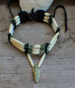 Native American Choker w/ Peace Jade Arrowhead Cherokee made William Lattie Cert