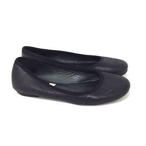 APC Rue Madame Paris Women's Black Embossed Leather Flats Shoes Size 35 US 5