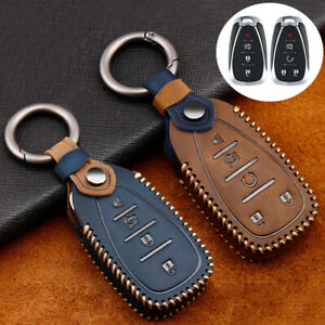 Leather Car Key Case Cover Holder For Chevrolet Malibu XL Equinox Spark Camaro