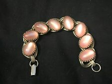 Vintage Unsigned Kafin Pink Moonglow Cabochon Bracelet