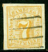 Germany 1859 Hamburg 7 Shilling Orange SG #8 VFU G148 ⭐⭐⭐⭐⭐⭐