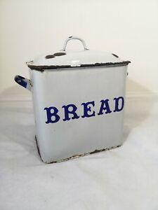 Vintage Antique Enamelled Bread Bin Box Kitchenalia enamelware Classic English