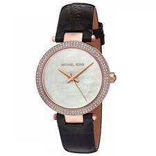 Neu Michael Kors MK2591 Damen Mini Parker Schwarzes Lederband Zifferblatt Uhr