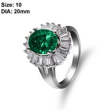 18k Gold Plated Women Bridal Green Crystal Emerald Rings Wedding Jewelry Hot 10