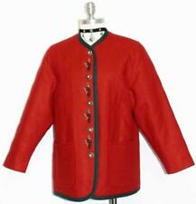 """RED WOOL German Women Jacket QUILTED Winter SHORT SLEEVES ~ LINED Coat B43"""" 12 M"""