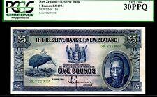 """NEW ZEALAND P156 5 POUND 1934 """"CHIEF MAORI"""" PCGS 30PPQ RARE! KIWI BIRD"""