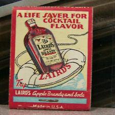 Vintage Matchbook S6 Laird's Life Saver Apple Brandy Soda Cocktail Flavor 90 Pr