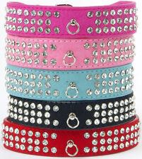 3 filas Bling Diamante Rhinestone Perro Gato Collar De Cuero Gamuza Mascota Collar De Perro