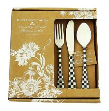 MACKENZIE CHILDS 12 PIECE SET COURTLY CHECK ENAMELED FLATWARE NEW ORIGINAL BOX