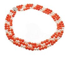 Elegant Three Strands Natural Pink coral and Elena Pearl Necklace 45-51cm
