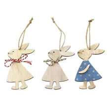 3x Easter Hanging Sign Ornament Bunny DIY Wood Crafts Door Home Decoration